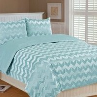 Thro by Marlo Lorenz 5602 Chevron Brushed 86 by 86-Inch Microplush Bedding Set, Full/Queen, Harbor Gray