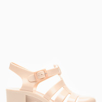 Wild Diva Glossy Nude Jelly Sandals