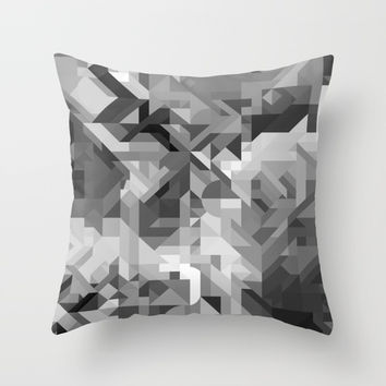 Black / White and Gray Scale Geometric Geometry Shape Pattern Throw Pillow by AEJ Design