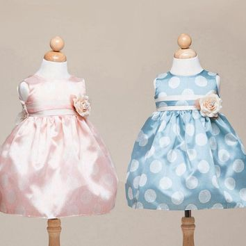 Cute Baby Polka-Dot Dress with Ribbon