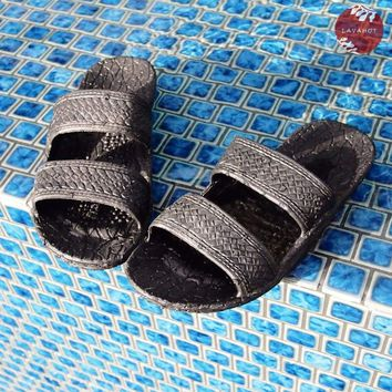 Kids Black Jandals® - Pali Hawaii Sandals