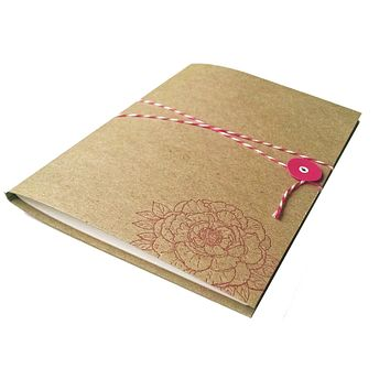 Letterpress Peony Flower Journal Notebook with Bakers Twine