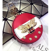 GUCCI Fashionable Delicate Pearl Bee Bag Hanging Drop Car Key Chain Bag Zero Wallet Accessories Red