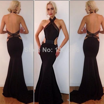 Fashionable Halter Sexy Floor-Length Mermaid Evening Dresses Backless Prom Dresses Classical Black Long Formal Dresses CE276