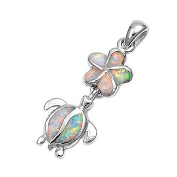 Sterling Silver White Created Opal Inlay Plumeria & Turtle Pendant