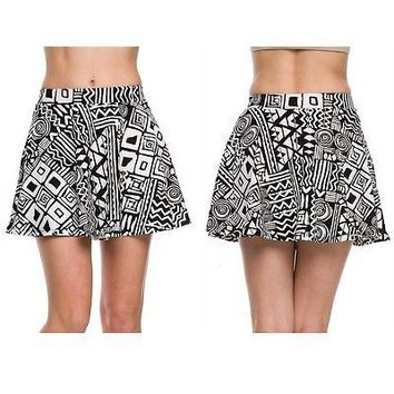 Sexy Tribal Print Waistband Jersey Flare Pleated A-Line Skater Peplum Mini Skirt
