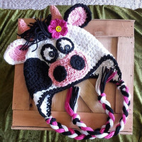 Crochet Kitty Cow Flap Hat Newborn - 4T