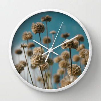 Modern Wall Clock with Original Nature Photography Art Print in Blue and Gold.