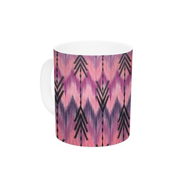 "Amanda Lane ""Indigo Orchid Chevron Arrows"" Pink Purple Ceramic Coffee Mug"