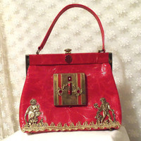 Red Leather Purse Vintage Handbag Victorian by HopscotchCouture
