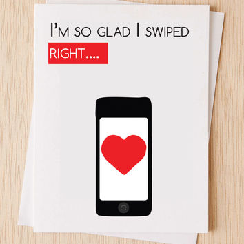 """I am so glad I swiped right"" Pop Culture Tinder Card"