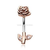 Rose Gold Full Blossom Rose Belly Button Ring (Clear)