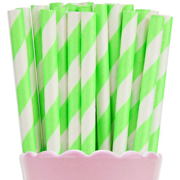 Neon Green Stripe Paper Straws
