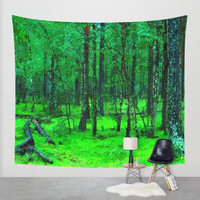 Wall decor tapestry - Enchanted green forest, oil painted trees, beautiful nature themed tapestry, 3 sizes available, indoor / outdoor use