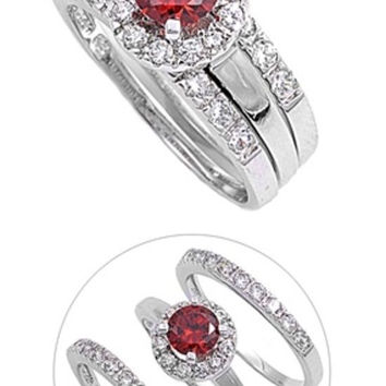 Sterling Silver CZ Halo 1 carat Garnet Three Piece Wedding Ring Set 5-10