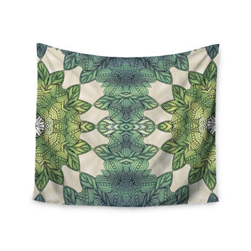 "Art Love Passion ""Forest Leaves"" Green Teal Celtic Abstract Wall Tapestry"