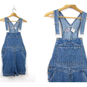 Blue Jean Bib Shorts Vintage Bib Overalls Shorts Carpenter Pants Women's Indie Girl shorteralls Street Style Size Medium