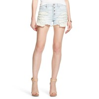 Women's High Rise Jean Short Light Wash with Crochet - Mossimo