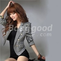 new women's casual fashion tailored stripe cotton coat Free Shipping!  - US$16.99