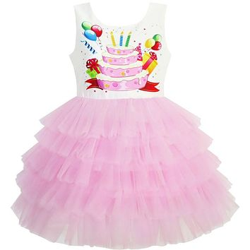 Sunny Fashion Girls Dress Birthday Princess Ruffle Dress Cake Balloon 2018 Summer Wedding Party Dresses Clothes Size 3-10