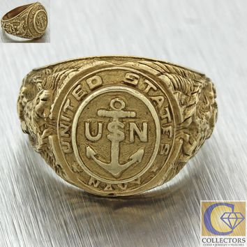 Mens Vintage 14k Yellow Gold U.S Navy Military Officer Chief Anchor Etched Ring