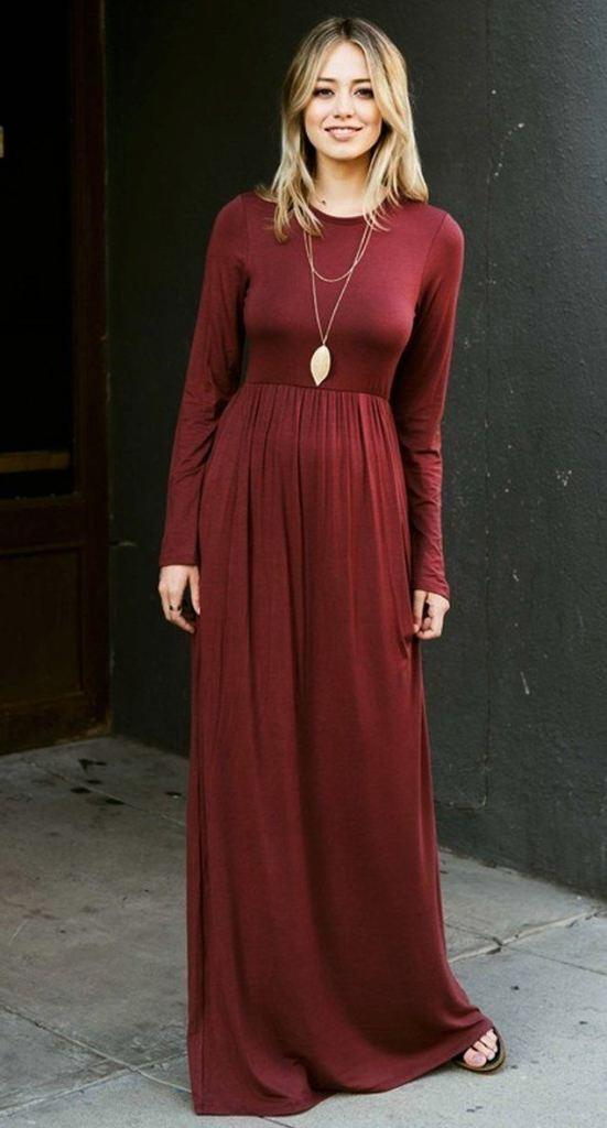 9b596a16c8a05 Ella Burgundy Long Sleeve Maternity Maxi from Lucky Duck Boutique