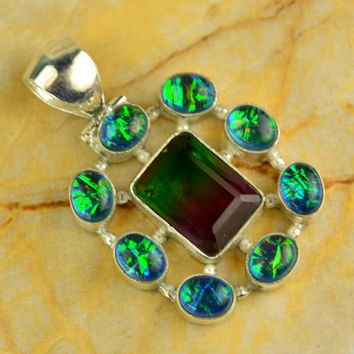 "Watermelon Tourmaline & Fire Opal 925 Silver Pendant 18 Grams 1.80"" Inch Long"
