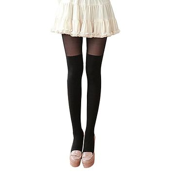 Bohemian  Summer Women Girls Tights Nightclubs Black Sheer High Stockings Tight Female W12