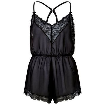 Black Premium Lace Trim Chiffon Teddy