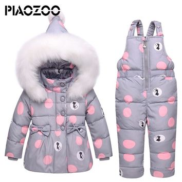 New Winter children clothing sets toddler girls Warm Hooded parka down jacket Newborn Infant snowsuit suspender jumpsuitP20