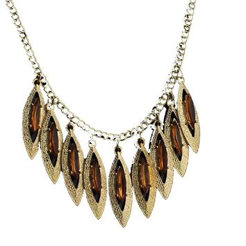 Gold Tone Long Pendant Necklace For Women