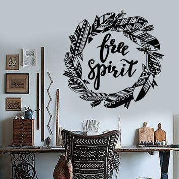 Vinyl Wall Decal Free Spirit Bird Feathers Wreath Inspiring Words Stickers (2127ig)
