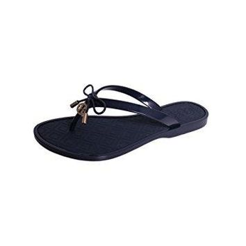 Tory Burch Jelly Flip Flops Shoes Sandals Flat (8, Navy)