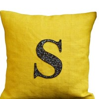 Amore Beaute Handmade Customized Sequin Monogram Throw Pillow Covers- Sequin Throw Pillow Covers - Burlap Pillow Covers - Monogrammed Throw Pillow Covers - Sequin Pillow Cover - Yellow Cushion Cover - Decorative Throw Pillow Cover - Couch Pillow Cover - Bu