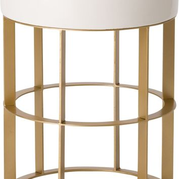 Large Milo Metal Stool/Table Powdercoated Gold With A White Ceramic Top