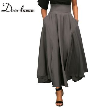 Dear lovers 2017 New Autumn Winter Women Gray Retro High Waist Pleated Belted Maxi Skirt S-XXL LC65053 Blue Wine Red Black Pink
