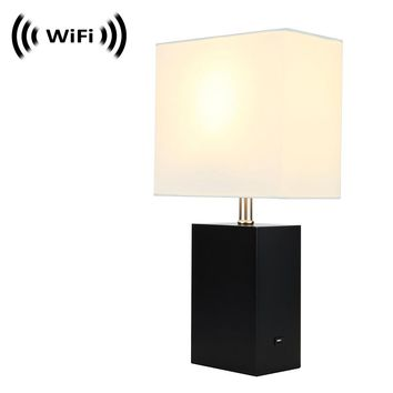 Spy Camera with WiFi Digital IP Signal, Camera Hidden in a Quality Modern Lamp with USB Port (Wooden Base) by SCS Enterprises ®
