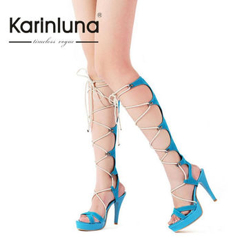 2016 Hot Sale Sexy New Fashion Platform Knee High Lace Up Woman Sandals Boots Casual Thin High Heels Roma Style Summer Shoes