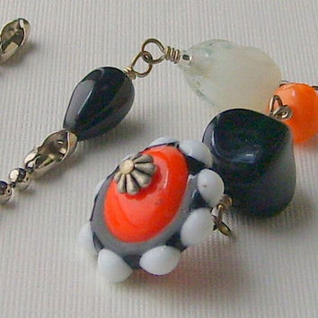Ceiling Fan Pull Beaded Orange Black White Beads Silver Chain FREE SHIPPING