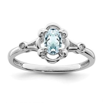 Sterling Silver Aquamarine Oval & Diamond Ring