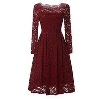 JIANLANPTT Women Vintage Dress Elegant Lady Slash Neck Long Sleeve Lace Dresses