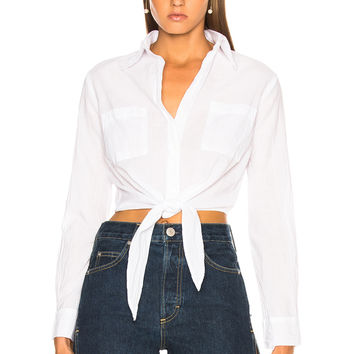 Enza Costa Front Tie Top in White | FWRD
