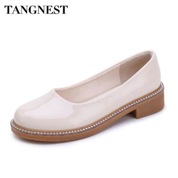 Tangnest Women Loafers Spring Autumn Oxford Patent Leather Ladies Solid Flat Shoes Shallow Fashion Female Casual Flats