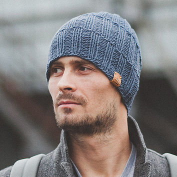 Men's Knit Hat / Navy Hat / Knitted Beanie / Wool Merino Hat