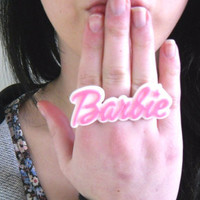Cute Pink & White Barbie Word Name Statement Ring, Quirky, Fashion, Girly