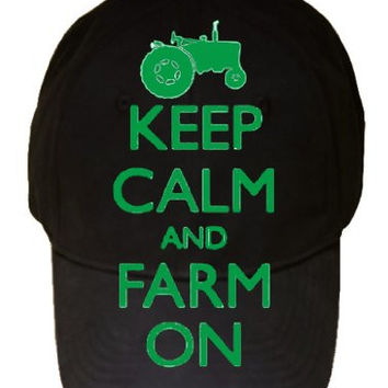 Keep Calm and Farm on Tractor 100% Cotton Black Adjustable Cap Hat