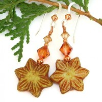 Yellow Star Flower Handmade Earrings, Czech Glass Swarovski Crystals Summer Dangle Jewelry