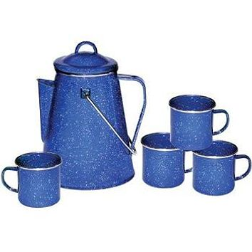 Enamel Coffee Pot with Percolator & Mugs