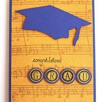 Graduation Card in Blue and Yellow, College and High School Graduation, Congratulations Grad, Music Grad, Graduation Cap, Handmade Notecard