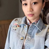 Fashion 2016 Trending Fashion Floral Printed Jeans Denim  Sweater Cardigan Coat Jacket Outerwear _ 9522
